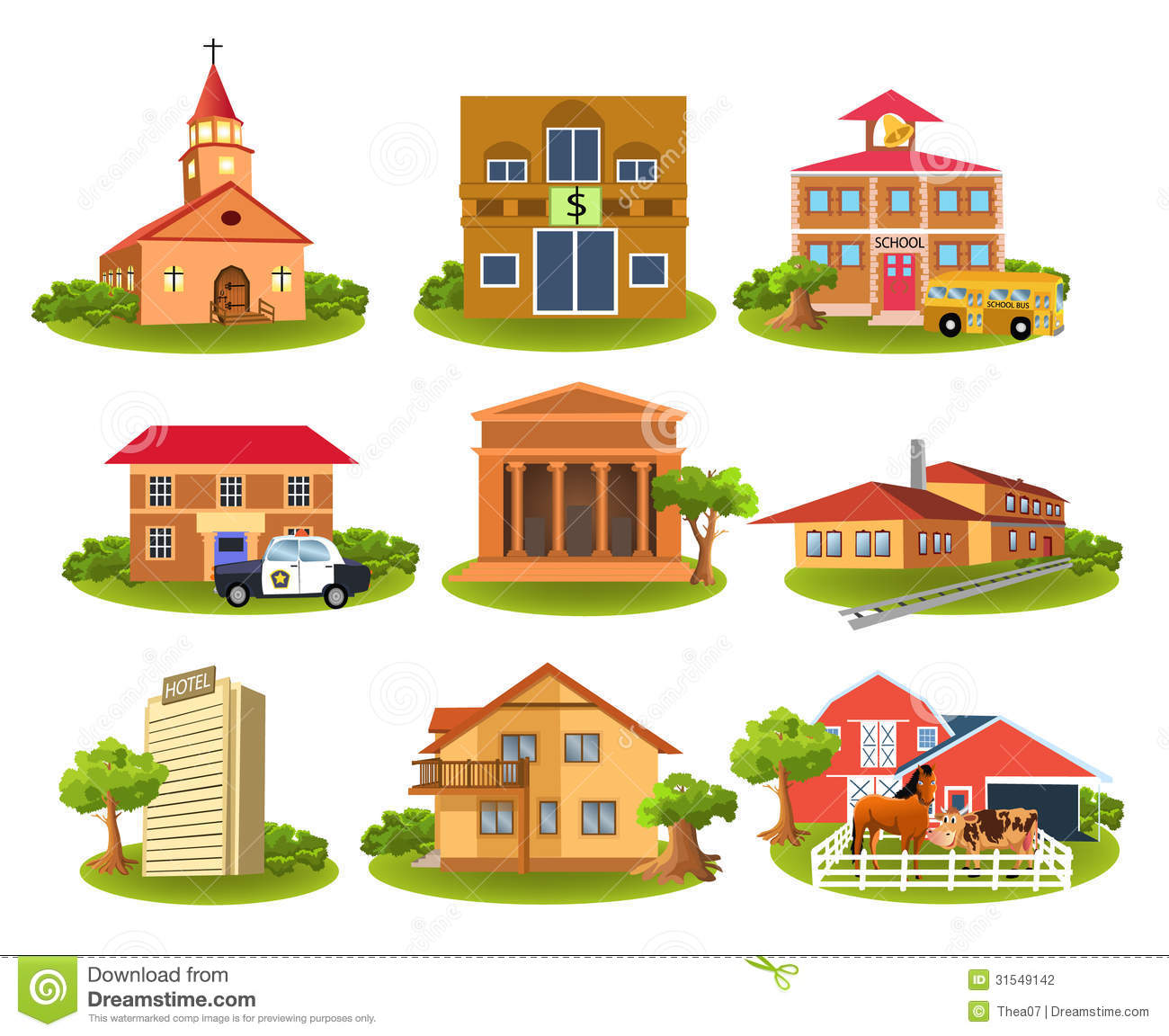 Places In The Community Clipart.