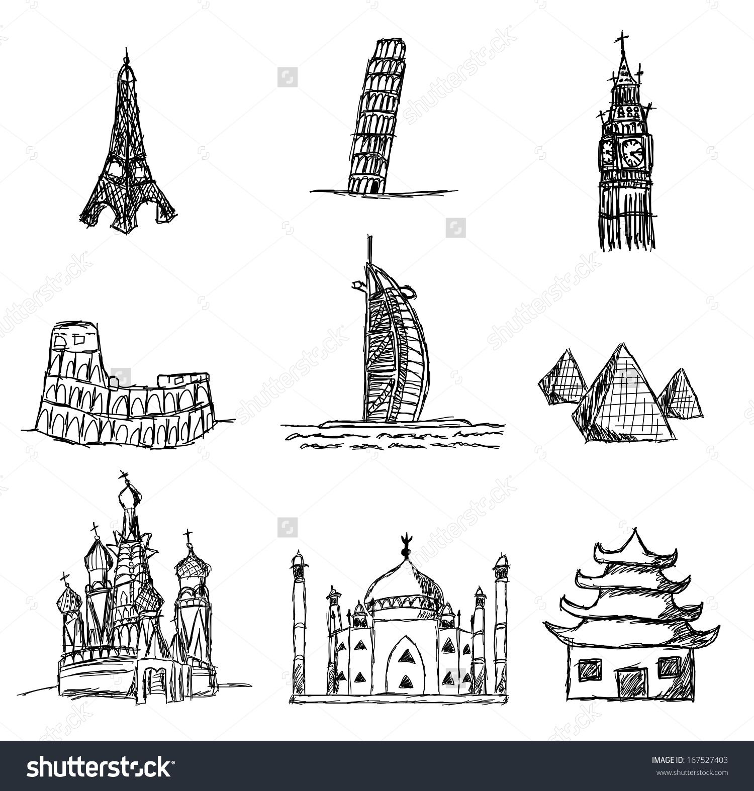 Set World Famous Places Interest Kids Stock Illustration 167527403.