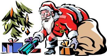 Santa Putting Presents Under the Tree.