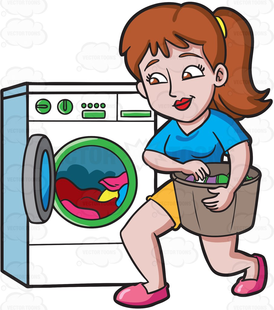 A Woman Placing Clothes In The Washing Machine Cartoon Clipart.