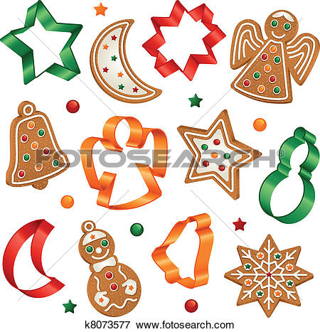 Clip Art of Christmas cookies and cookie cutter k8073577.