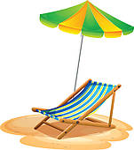 Clip Art of A girl near a foldable beach bed and umbrella.