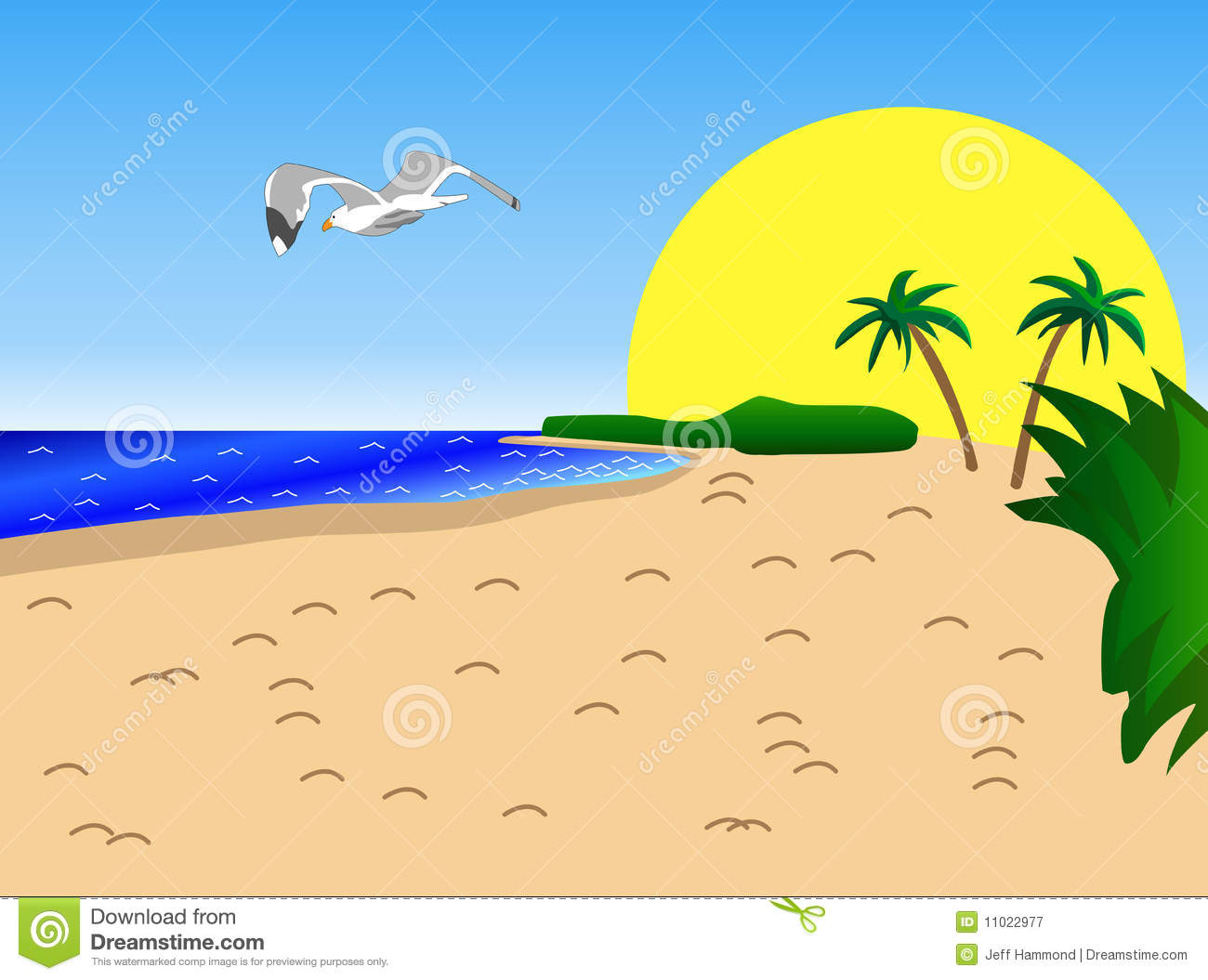 Palm Trees Beach Sun Clip Art Stock Photo.
