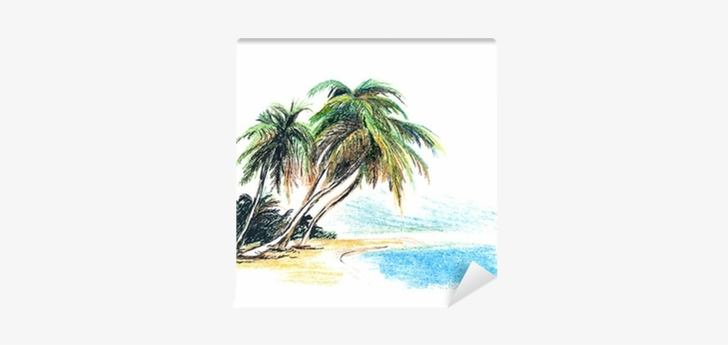 Drawing Beach With Palm Trees.