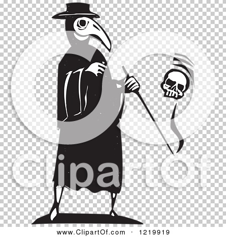Clipart of a Bird Headed Plague Doctor with a Skull Woodcut in.
