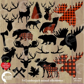 Lumberjack clipart, Buffalo plaid clipart, 54 Animal Silhouettes, Deer,  AMB.