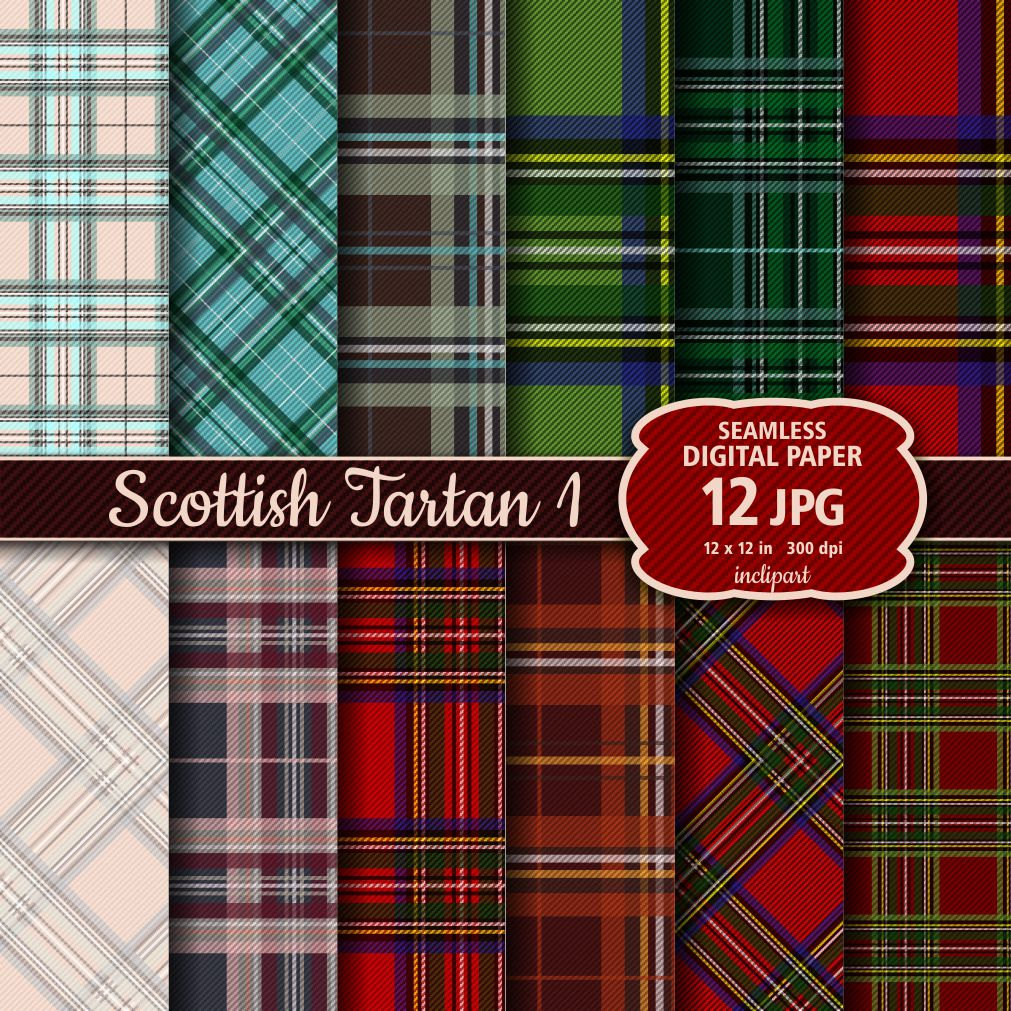 Tartan Digital Paper clipart. Seamless background digital paper.