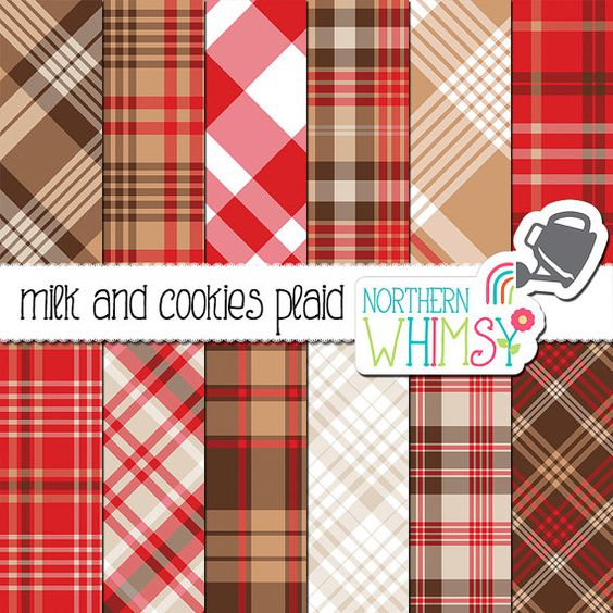 Brown and Red Plaid Digital Paper.