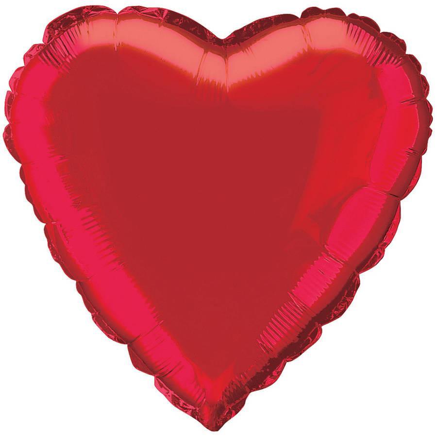 Plain Red Heart Foil Balloon.