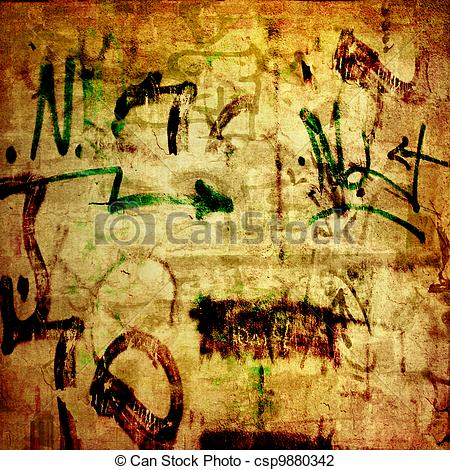 Clip Art of Plain text in style of graffiti on the old plastered.