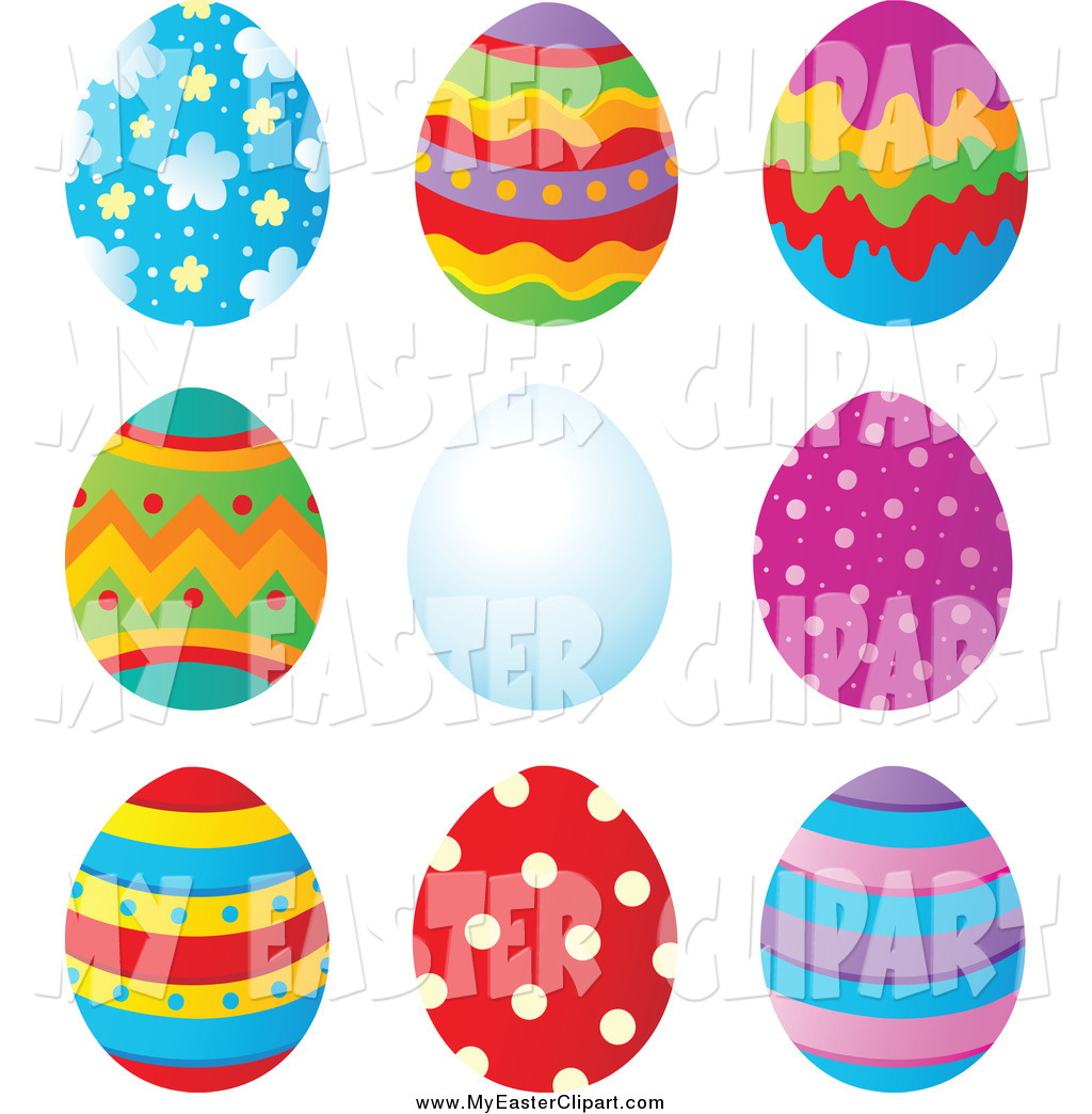 Clip Art of Patterned and Plain Easter Eggs by visekart.
