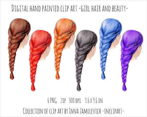 Hair braid plait clipart. 6 various color hand drawn by inclipart.