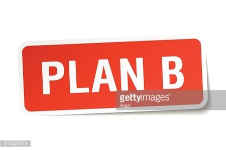 plan b red square sticker isolated on white Clipart Image.