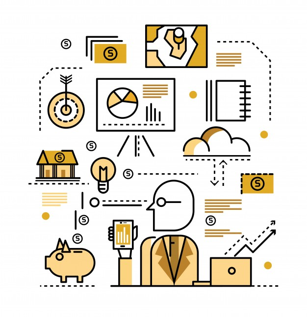 Business plan concept. flat line icons. vector illustration.