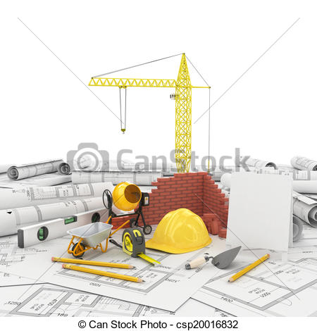Drawings of construction plan in roll.
