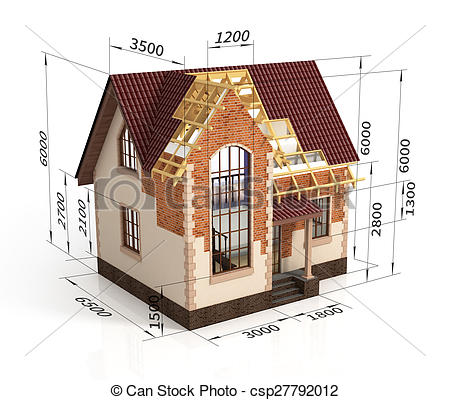 Clipart of Construction house plan design blend transition.