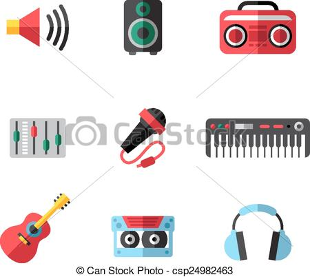 Clip Art Vector of Music icons.