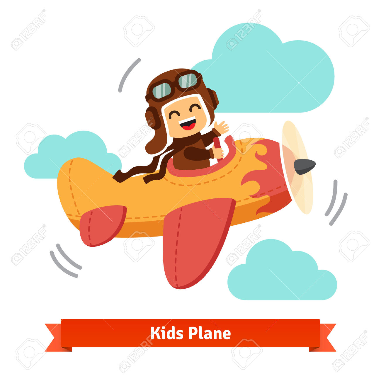 Happy Smiling Kid Flying Plane Like A Real Pilot In Retro Leather.