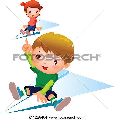 Stock Illustration of Portrait of a girl and a boy playing with.