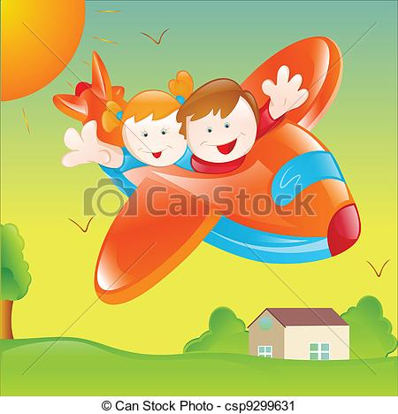 Clipart Vector of Kids Flying Plane.
