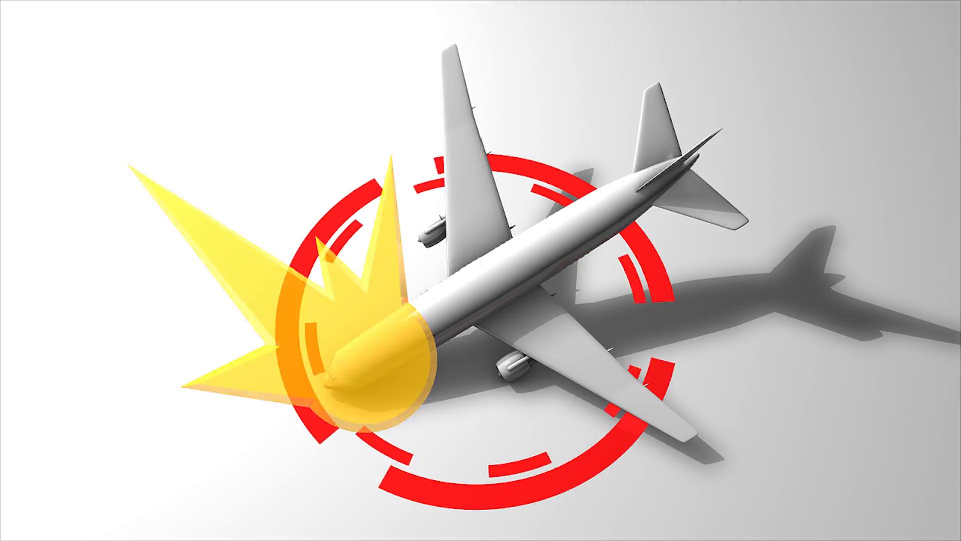 Plane crash graphic animation. matte included.