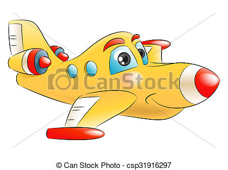 Stock Illustration of yellow jet plane flying away.