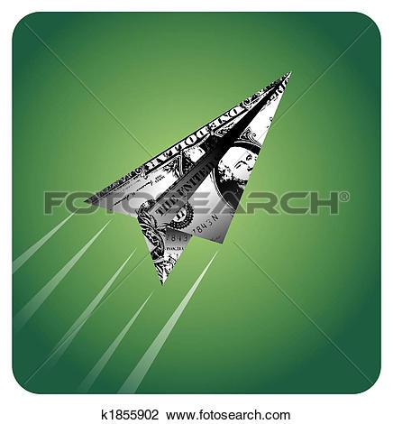 Clip Art of Dollar plane flying away k1855902.