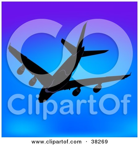 Clipart Illustration of an Airplane Flying Above City Skyscrapers.