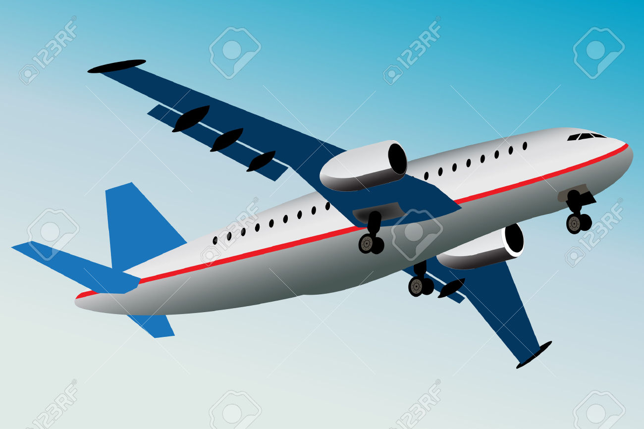 Graphic Illustration Of Commercial Airplane What Is Flying Away.