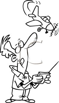 Black and White Cartoon of a Man Flying a Remote Control Plane.