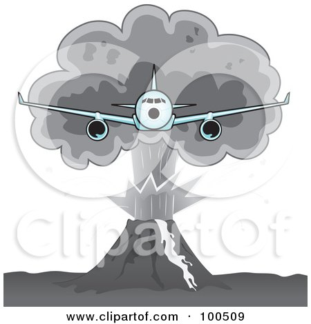 Clipart Illustration of a Speedy Jet Speeding Through a Cloudy Sky.