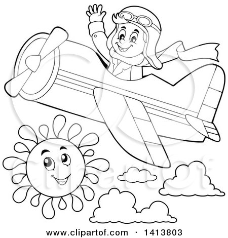 Clipart of a Happy Caucasian Male Aviator Waving and Flying a.