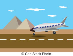 Clip Art Vector of Airplane Landing in Australia Vector.