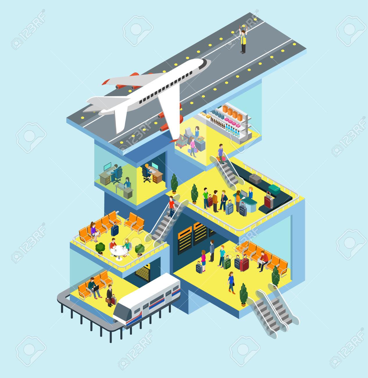 Airport Building People, Runway, Airstrip, Landing Strip, Plane.