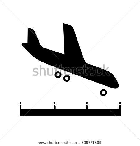 Plane Landing On Runway Clipart.