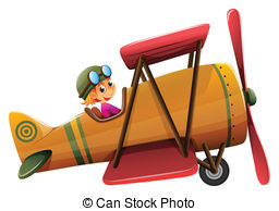 Clip Art Vector of Plane and pilot.