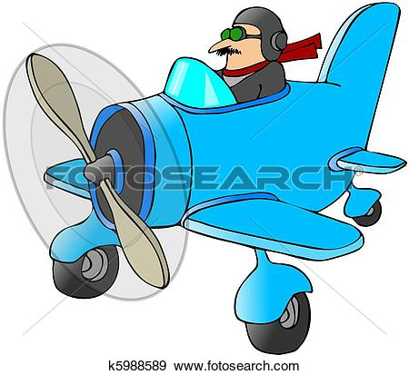Stock Illustration of Pilot In A Small Plane k5988589.