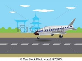 Plane Landing On Runway Clipart.