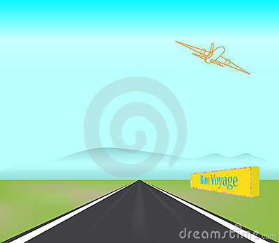 Passenger Jet Plane Takes Off Runway Illustration Royalty Free.