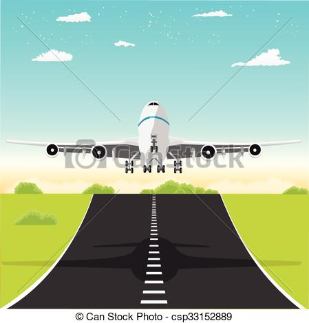 Vector Clip Art of Airplane takeoff from runway.