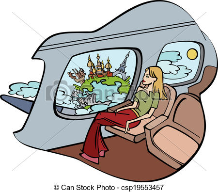 Clipart Vector of Girl sits in plane and peers into window. Vector.