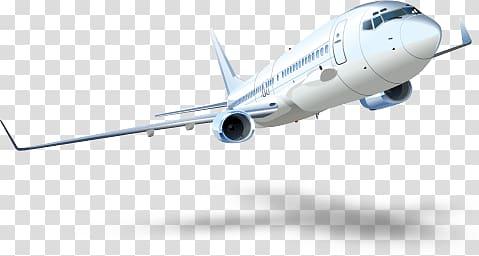 White airliner plane, Taking Off Plane transparent.