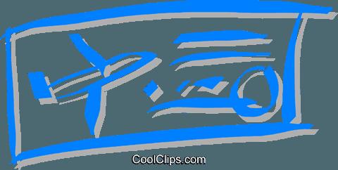 plane ticket Royalty Free Vector Clip Art illustration.
