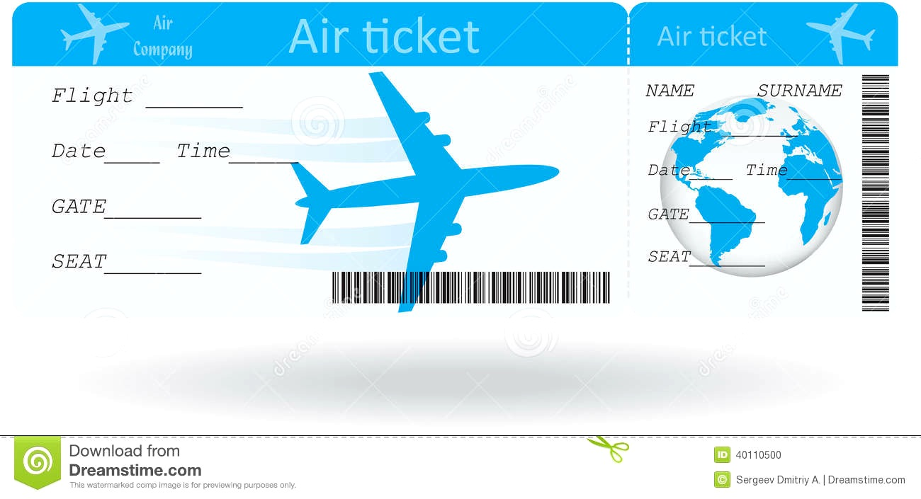 plane ticket template.
