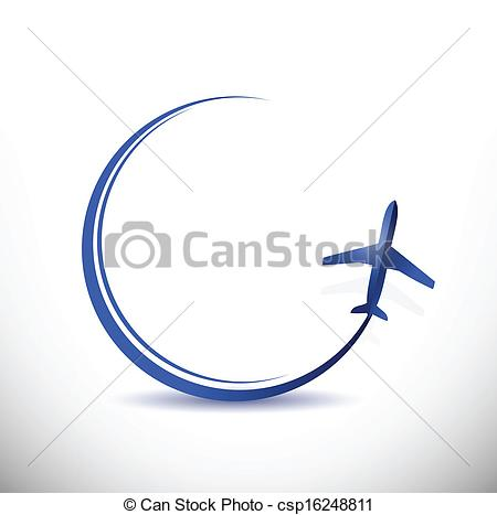 Vector Clip Art of plane travel destination concept illustration.