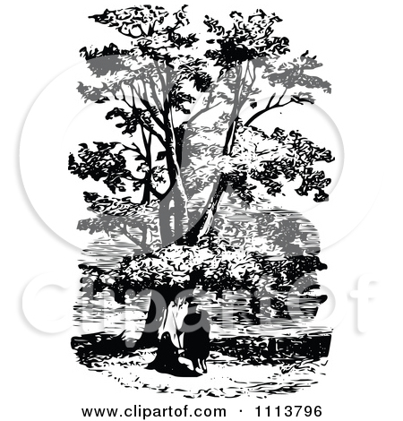 Clipart Vintage Black And White People Under A Plane Tree.