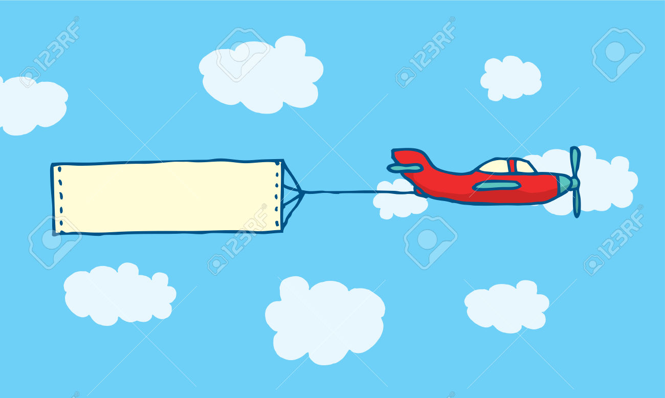 Cartoon Illustration Of Blank Message On Plane Sign Or Banner.