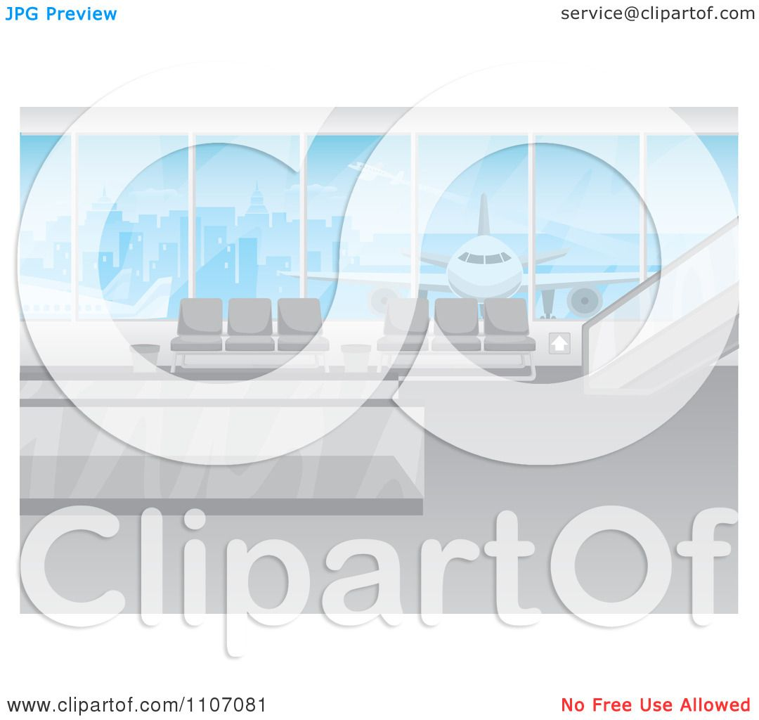 Clipart Modern Airport Interior With A Plane And City View Through.