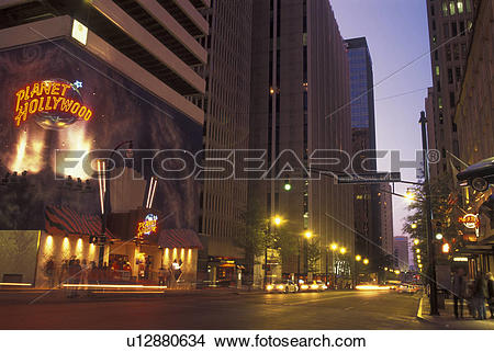 Stock Photo of Atlanta, GA, Georgia, Planet Hollywood, Peachtree.
