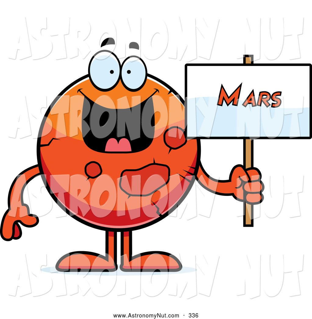 Clipart of a Friendly Planet Mars Holding a Sign by Cory Thoman.